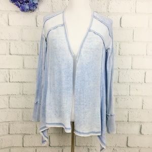 Free People Blue Open Front Thermal Rib Cardigan